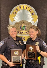 2018 Indiana D.A.R.E. Officers of the Year Alicia Ahnert and Tracy Jones