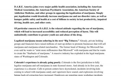 D.A.R.E. America Position Paper on Marijuana Legalization