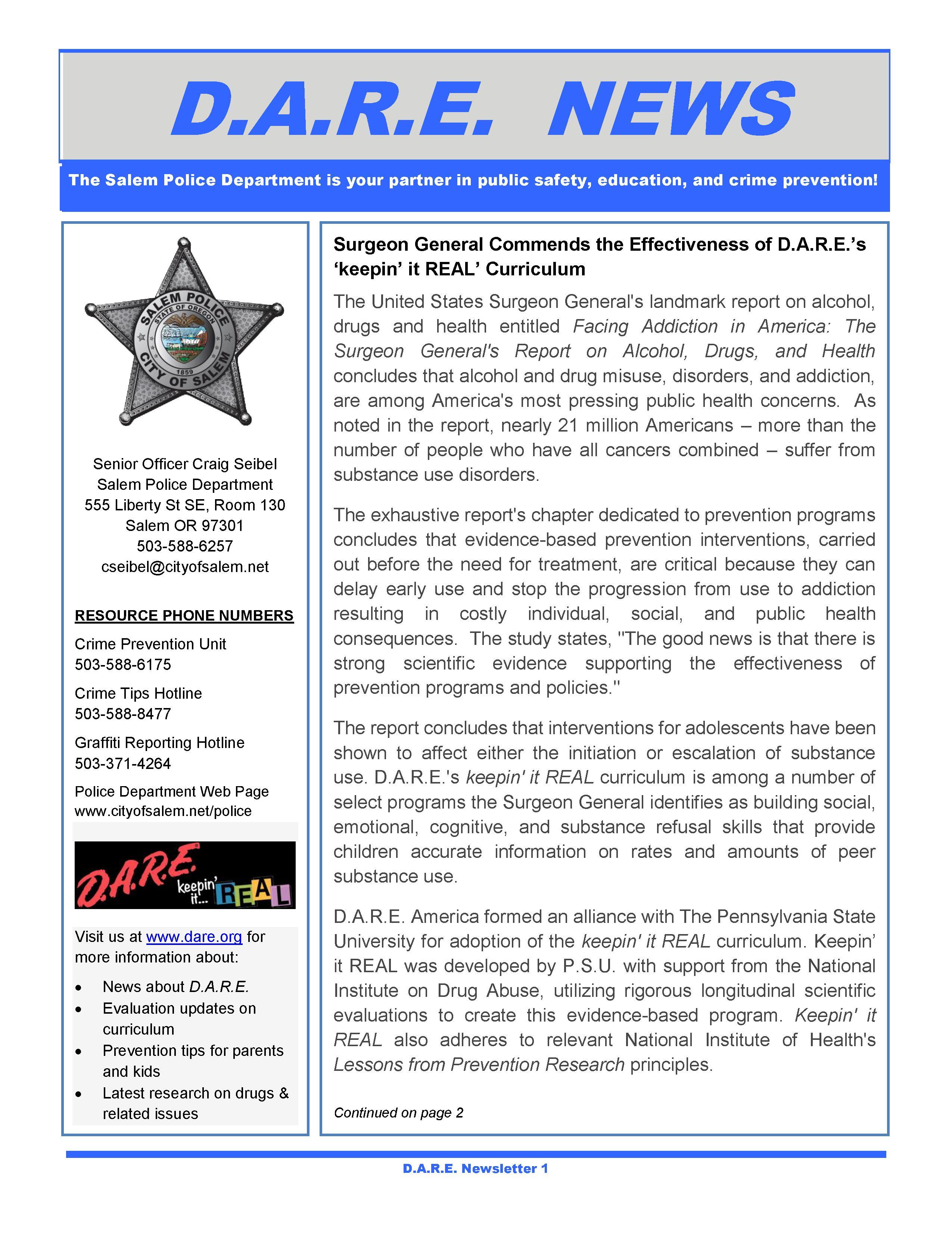 Salem D.A.R.E. Newsletter June 2017