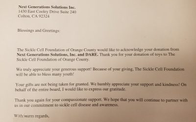KARE Donation to the Sickle Cell Foundation of Orange County