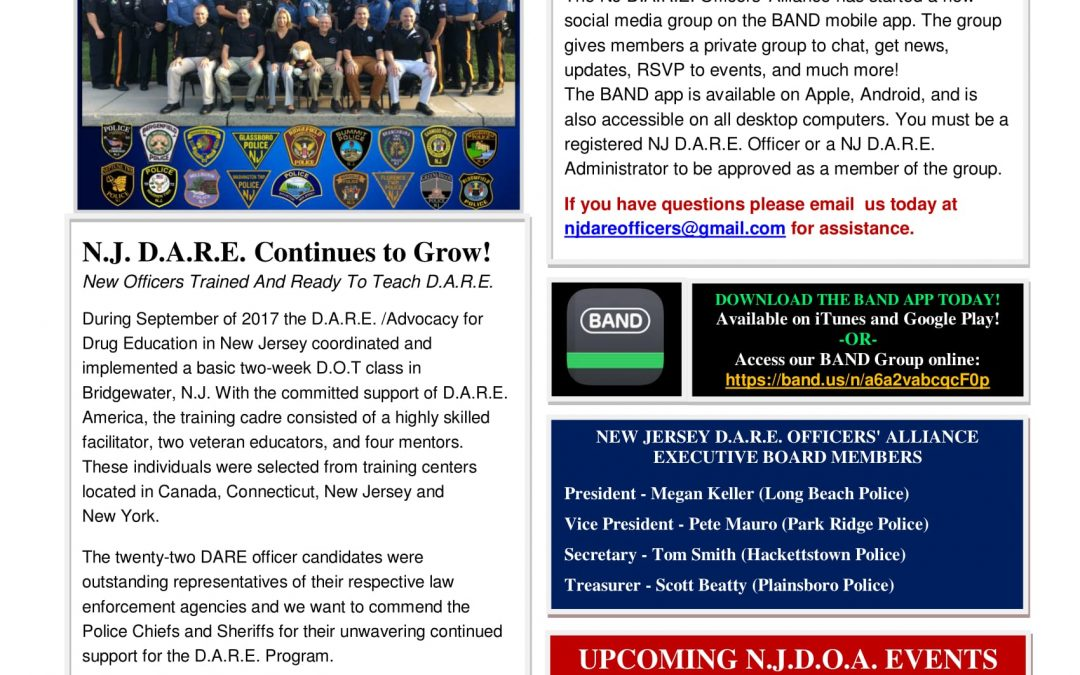 D.A.R.E. New Jersey Newsletter, Volume 1, Issue 3 (December 2017)