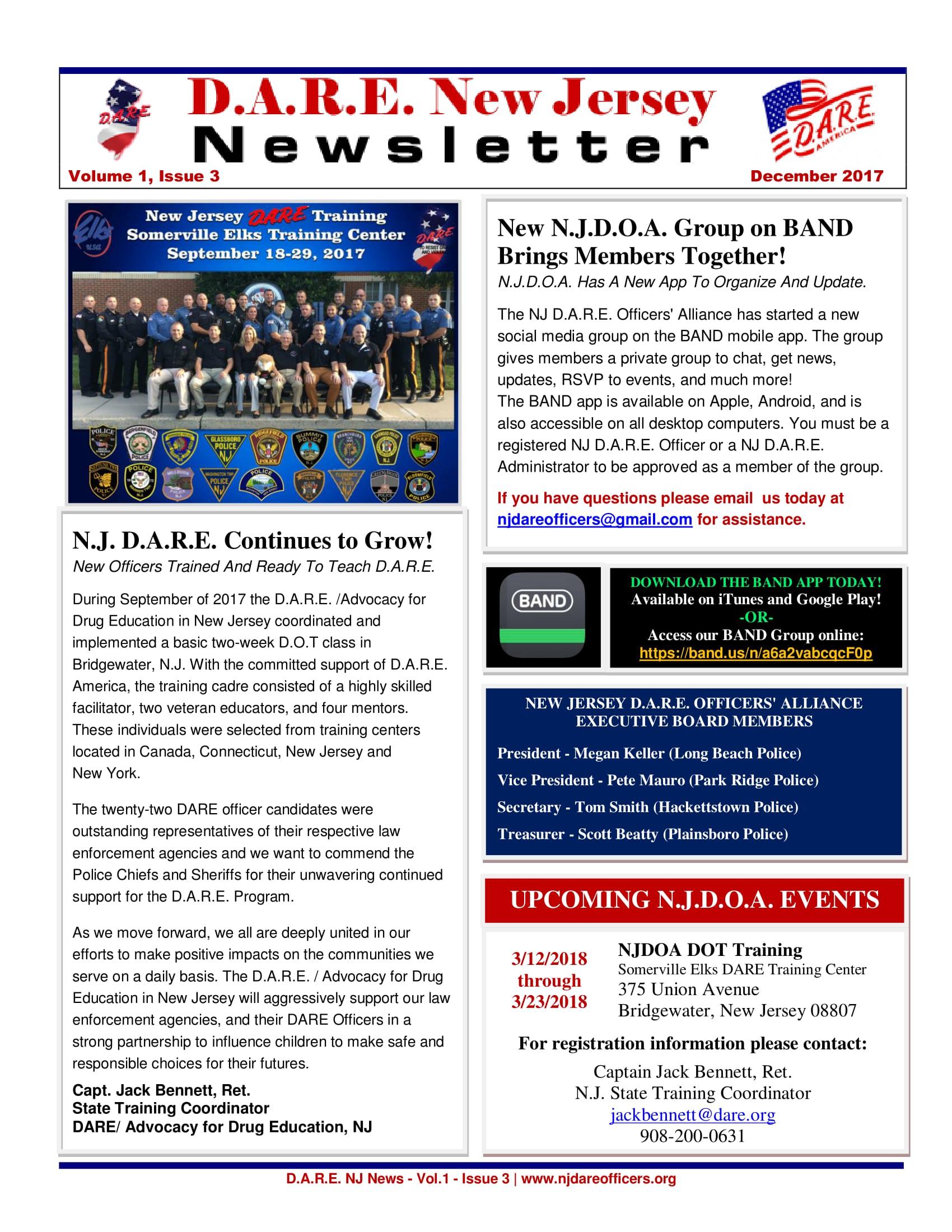D.A.R.E. New Jersey Newsletter, Volume 1, Issue 3 (December 2017)