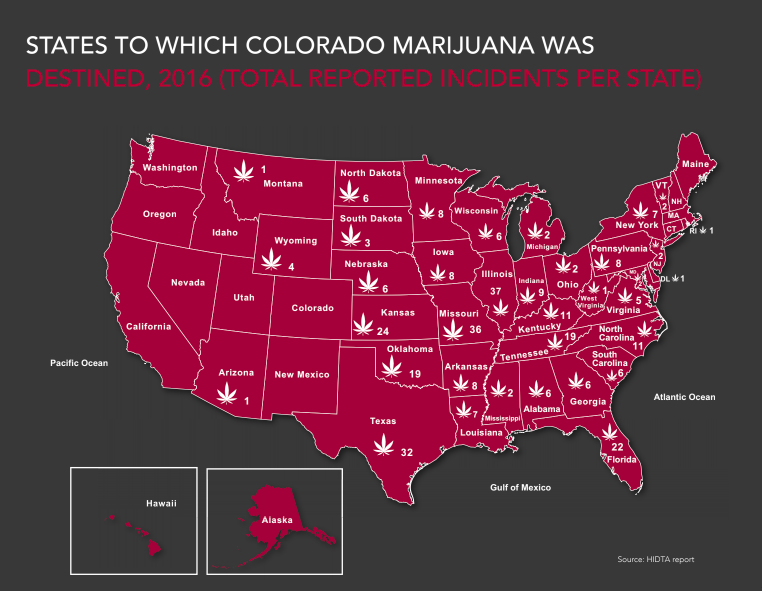 States to which Colorado marijuana was destined, 2016 (Total reported incidents per state)