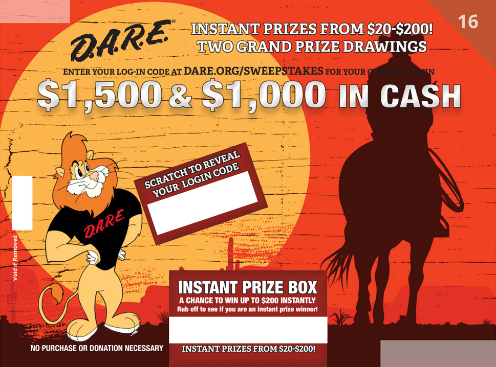 facebook sweepstakes poster showing a lion, cowboy and a horse