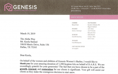 March 2019 KARE Donation to Genesis Women's Shelter & Support