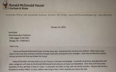 January 2019 KARE Donation to Ronald McDonald House