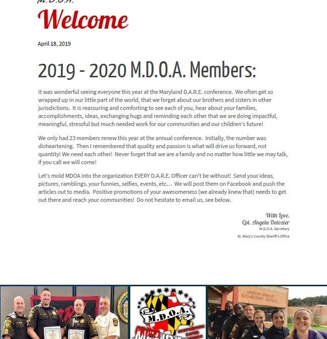 Maryland D.A.R.E. Officers' Association Newsletter, April 18, 2019