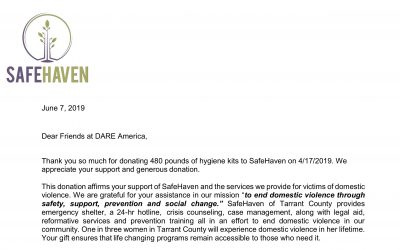 April 2019 KARE Donation to SafeHaven