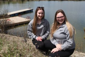This past weekend, 88 students from the five high schools in Timmins attended the third-annual D.A.R.E. Leadership Camp at Camp Bickell. Valerie Demers, left, and Annabelle Breton, both Grade 12 École secondaire catholique Thériault students, were among the counsellors.