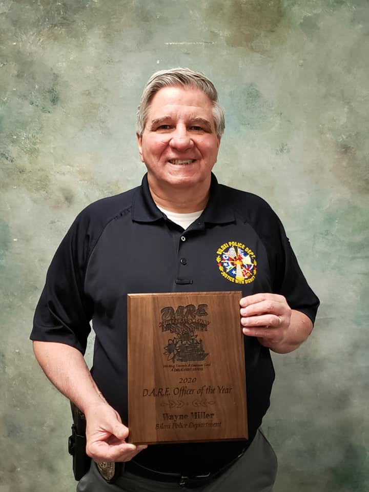 Officer Wayne Miller of the Biloxi Police Department, 2020 Mississippi D.A.R.E. Officer of the Year